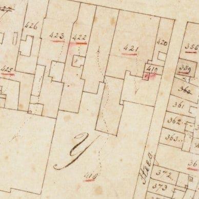 Een fragment uit de kadastrale kaart uit 1832 van de Hogewoerd en omgeving