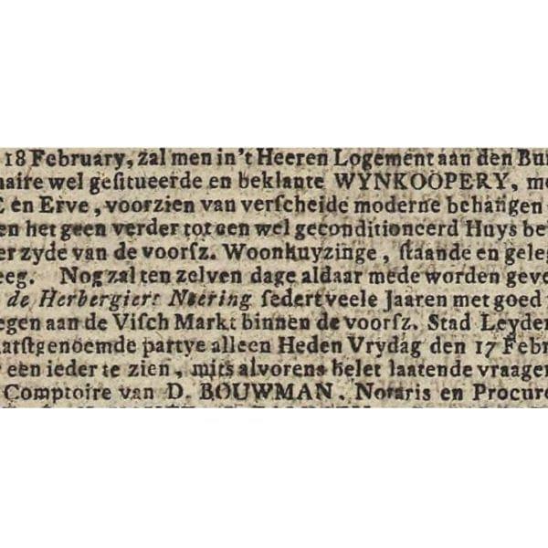 Een fragment van de aankondiging van de veiling van de wijnkoperij in 1804