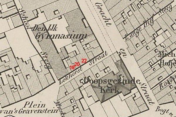 De Lokhorststraat en omgeving op een kaart uit 1850