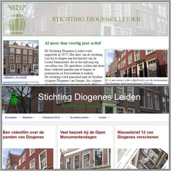 De oude en de nieuwe website van Diogenes